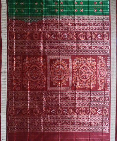 Bottle Green Baghambari Ikat Sambalpuri Silk Handwoven Saree