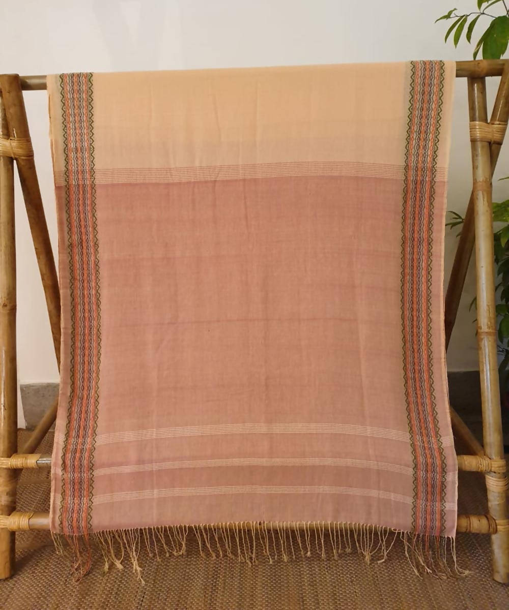 assam Beige brown handwoven cotton saree