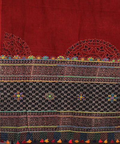 Maroon Black Hand Embroidery Printed Cotton Dupatta