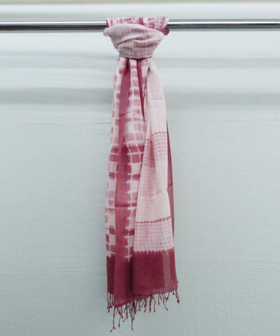 Pink Off White Natural Dyed Handwoven Cotton Shibori Stole