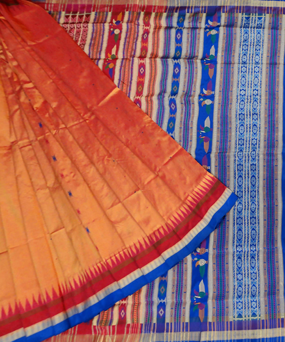 Burnt Orange Sonepur Handloom Silk Saree