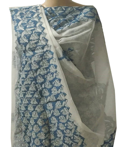Blue ajrakh handblock print applique work cotton top dupatta suit set