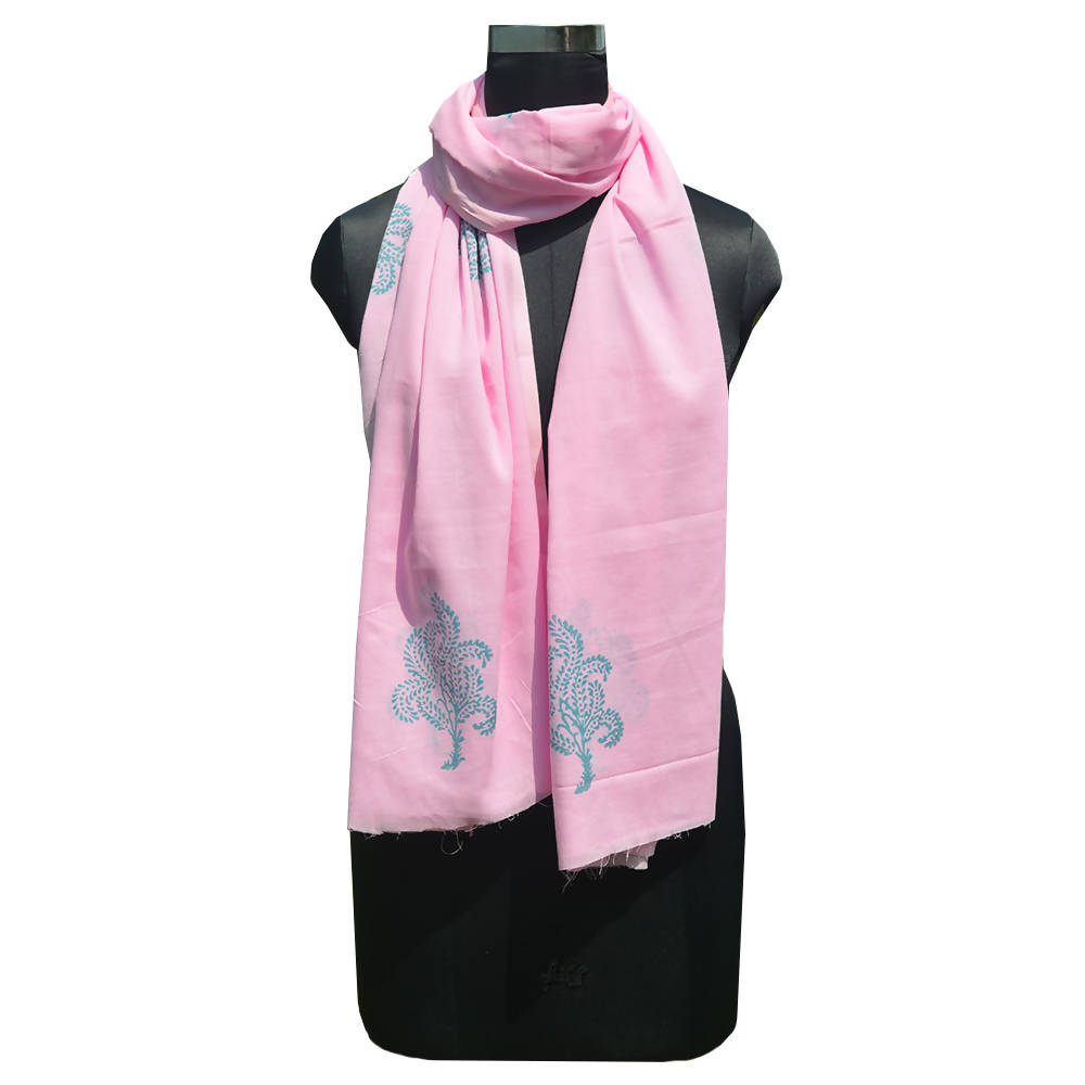 Pink color handspun handwoven block printed dupatta