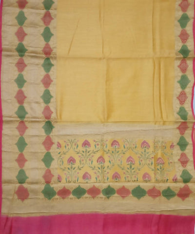 Canary yellow handwoven silk banarasi saree