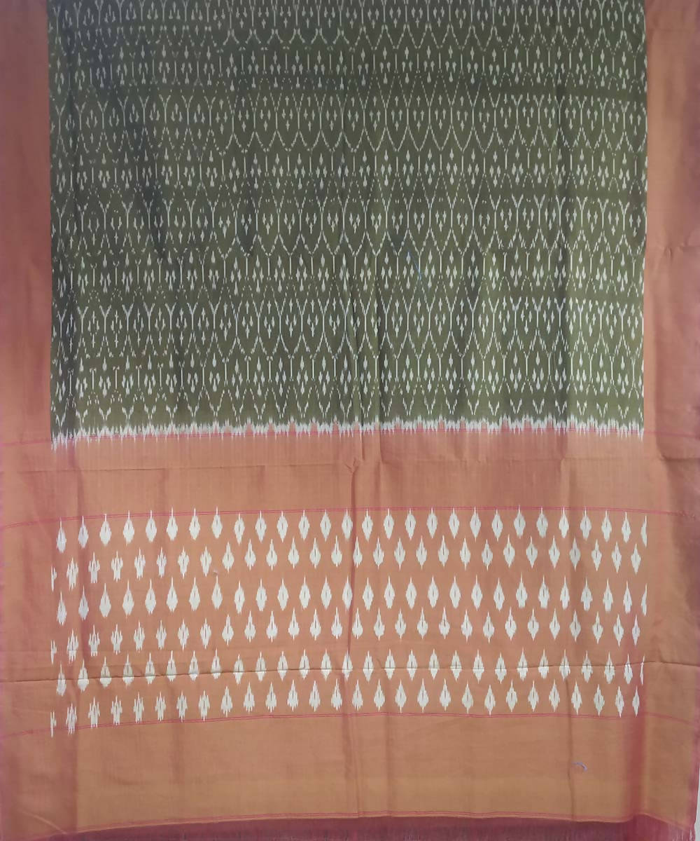 Olive green light brown handwoven cotton ikat pochampally saree