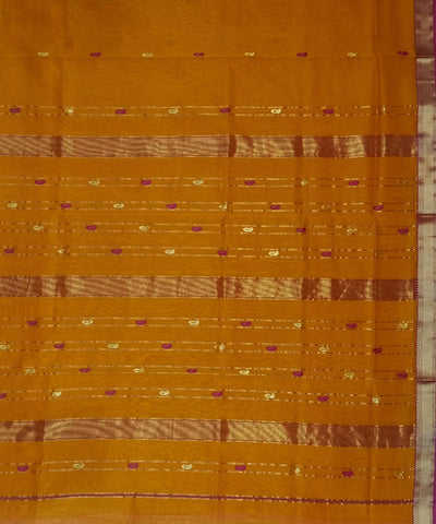 Rust Orange Maheshwari Handwoven Cotton Silk Saree