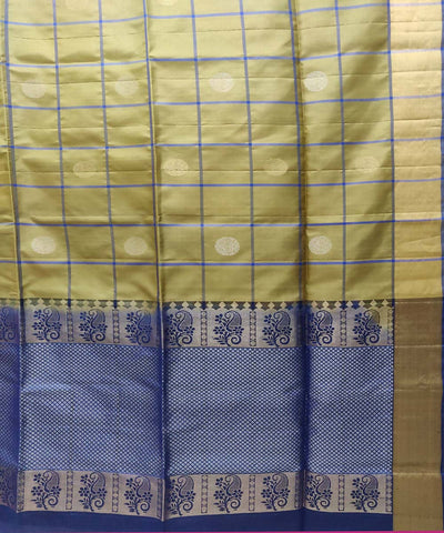 Beige brown and blue Handloom Soft Silk Saree