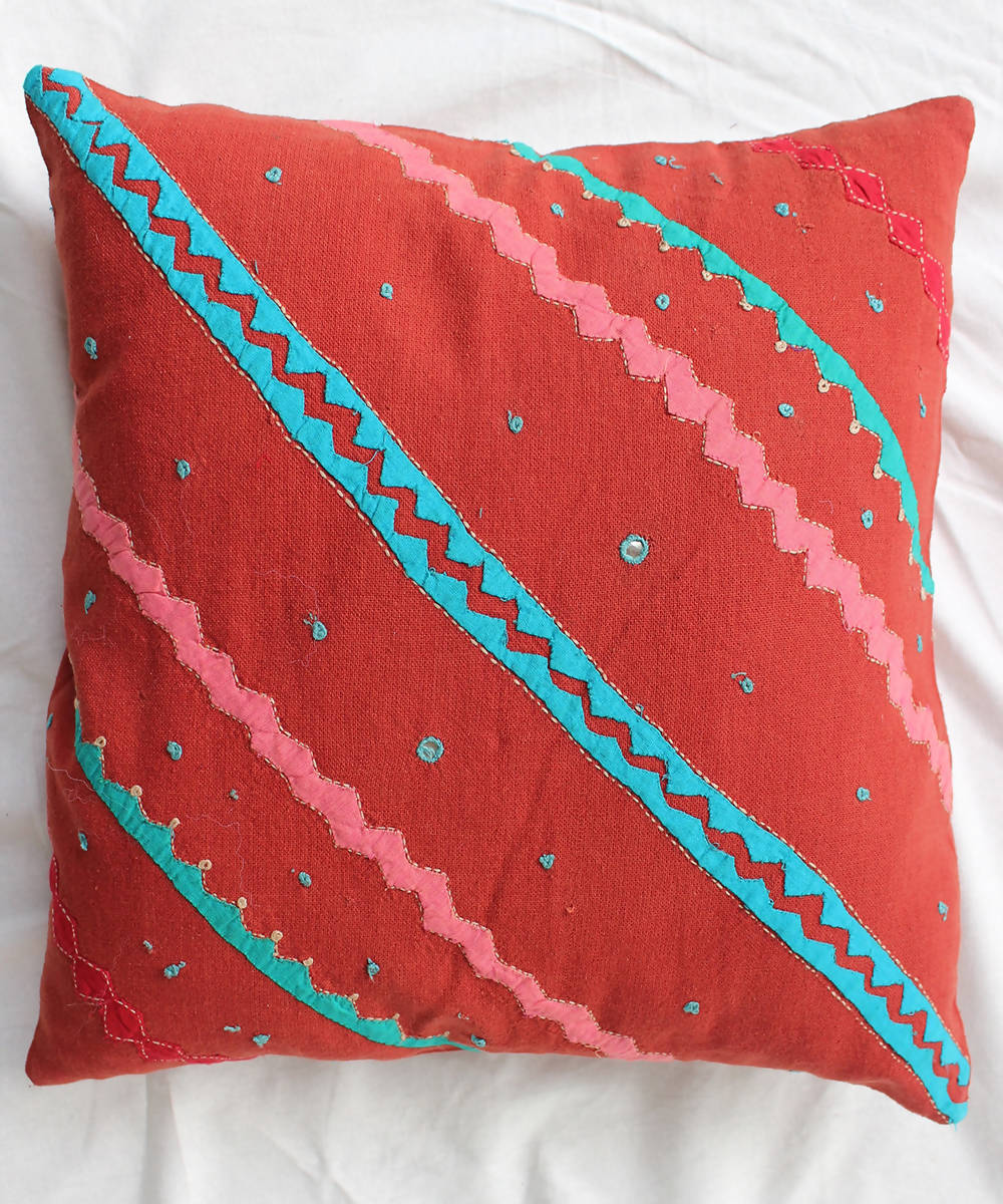 Applique handwork red cotton cushion cover