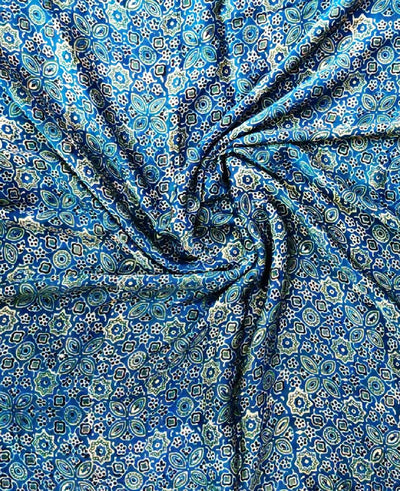Navy blue ajrakh hand block printed modal silk fabric