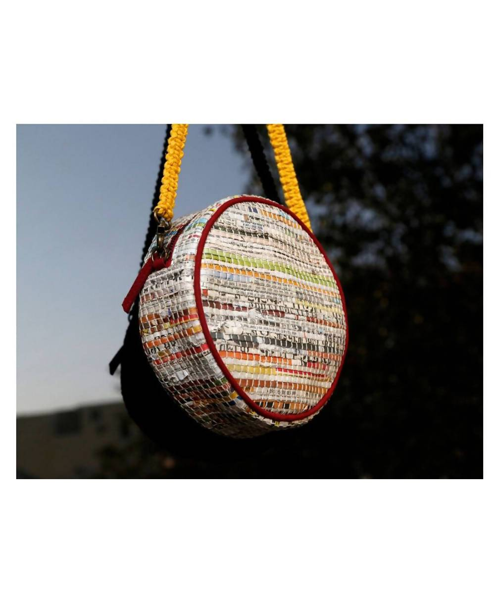 Newspaper Handmade Cotton Circular Hand Bag