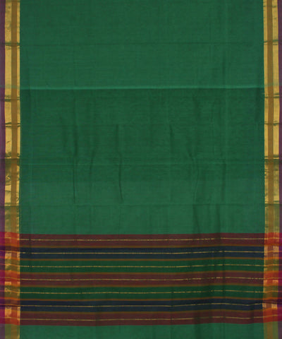 Handloom Dark Green Madhavaram Cotton Saree