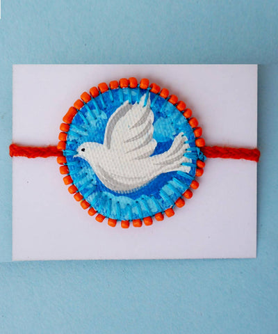 Hand Painted Glass Beads Bird Design Rakhi 3 Nos