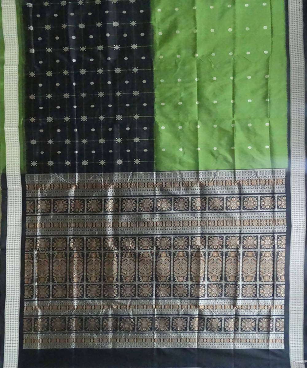 Army Green Black Silk Bomkai Handloom Saree