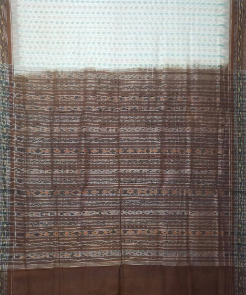 Offwhite Deep Brown Sambalpuri Handloom Cotton Ikat Saree