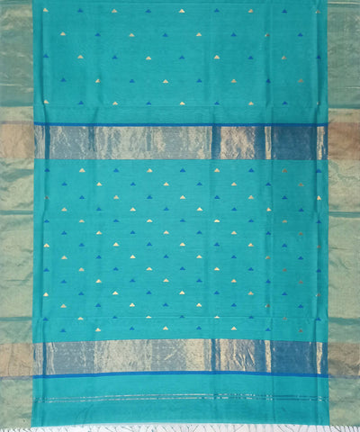 Maheshwari Aqua Blue Handloom Cotton Silk Saree