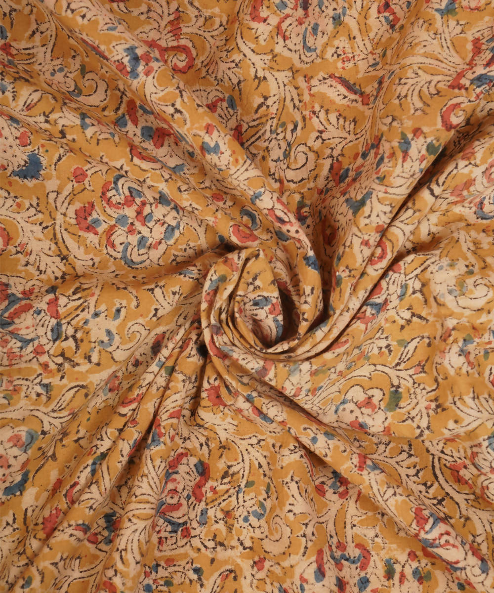 Yellow Hand Block Kalamkari Cotton Fabric
