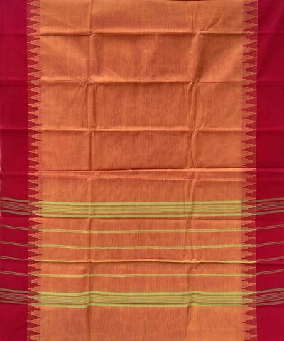 Orange handwoven tamil nadu cotton saree