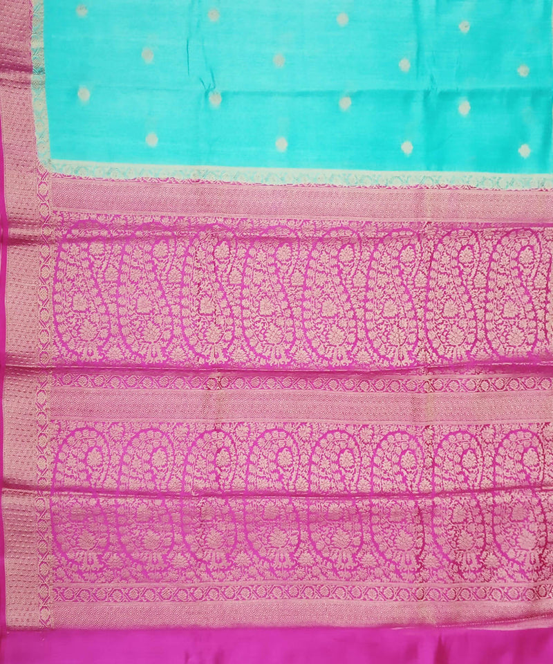 Cyan Blue and Pink Handloom Banarasi Silk Saree
