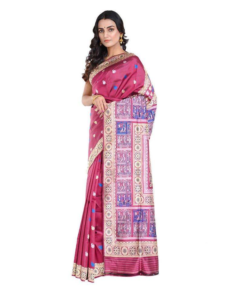 Magenta and purple handwoven baluchari mulberry silk saree