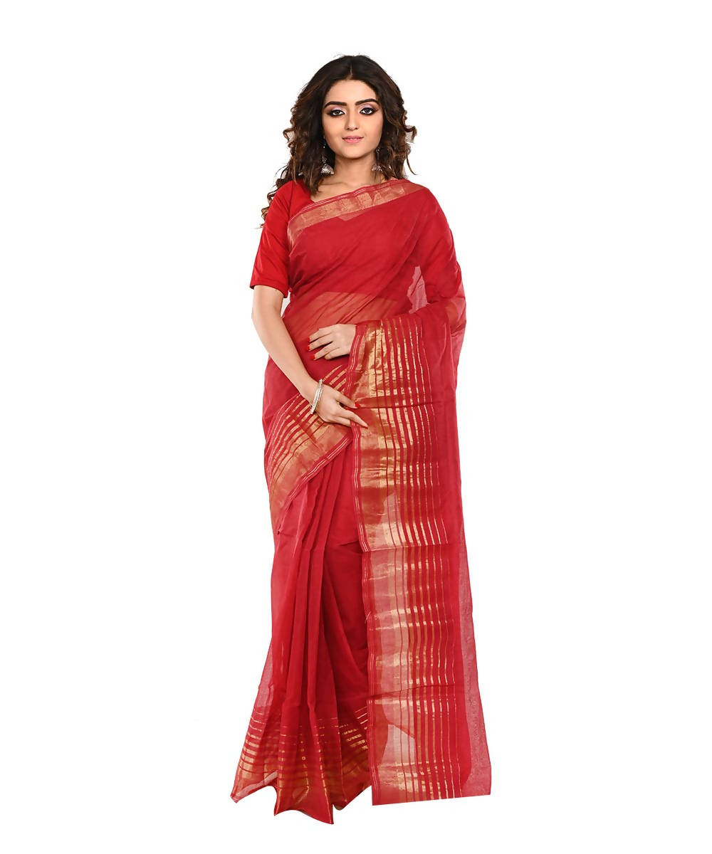 Bengal Handloom Cotton Red Saree