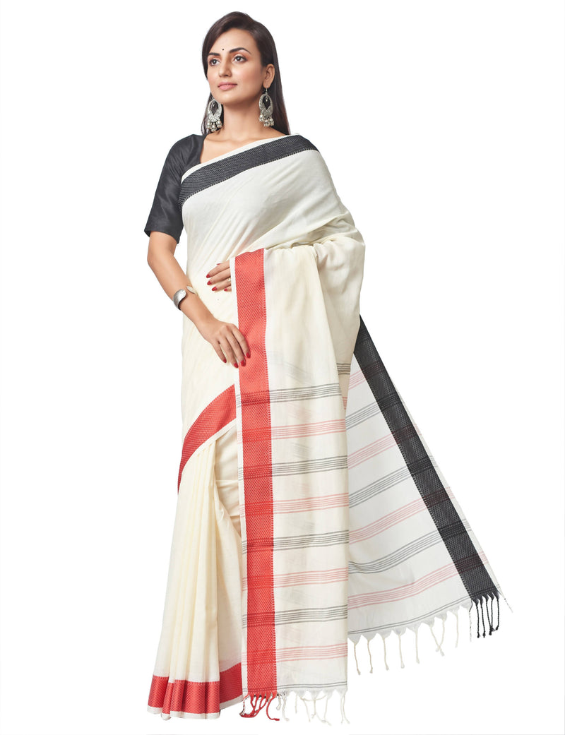 Biswa Bangla Handloom Santipuri Cotton Saree - Off-white