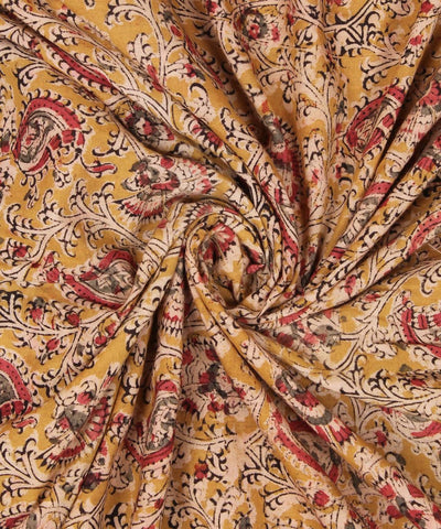 Yellow Handblock Kalamkari Cotton Fabric