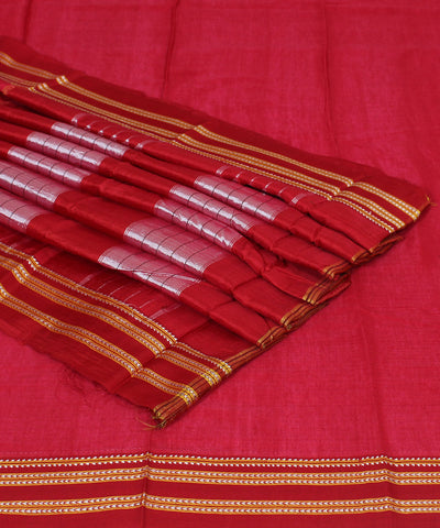 Red Ilkal Gomi Handwoven Cotton Saree