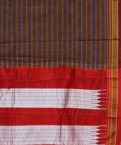 Blue Brown Checks Ilkal Handloom Cotton Saree