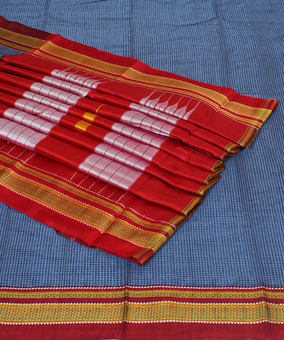Blue Grey Checks Ilkal Handwoven Cotton Saree