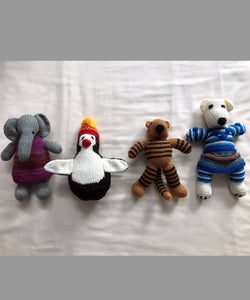 Hand Knitted Woollen Stuffed Animal Soft Toys Set of 4