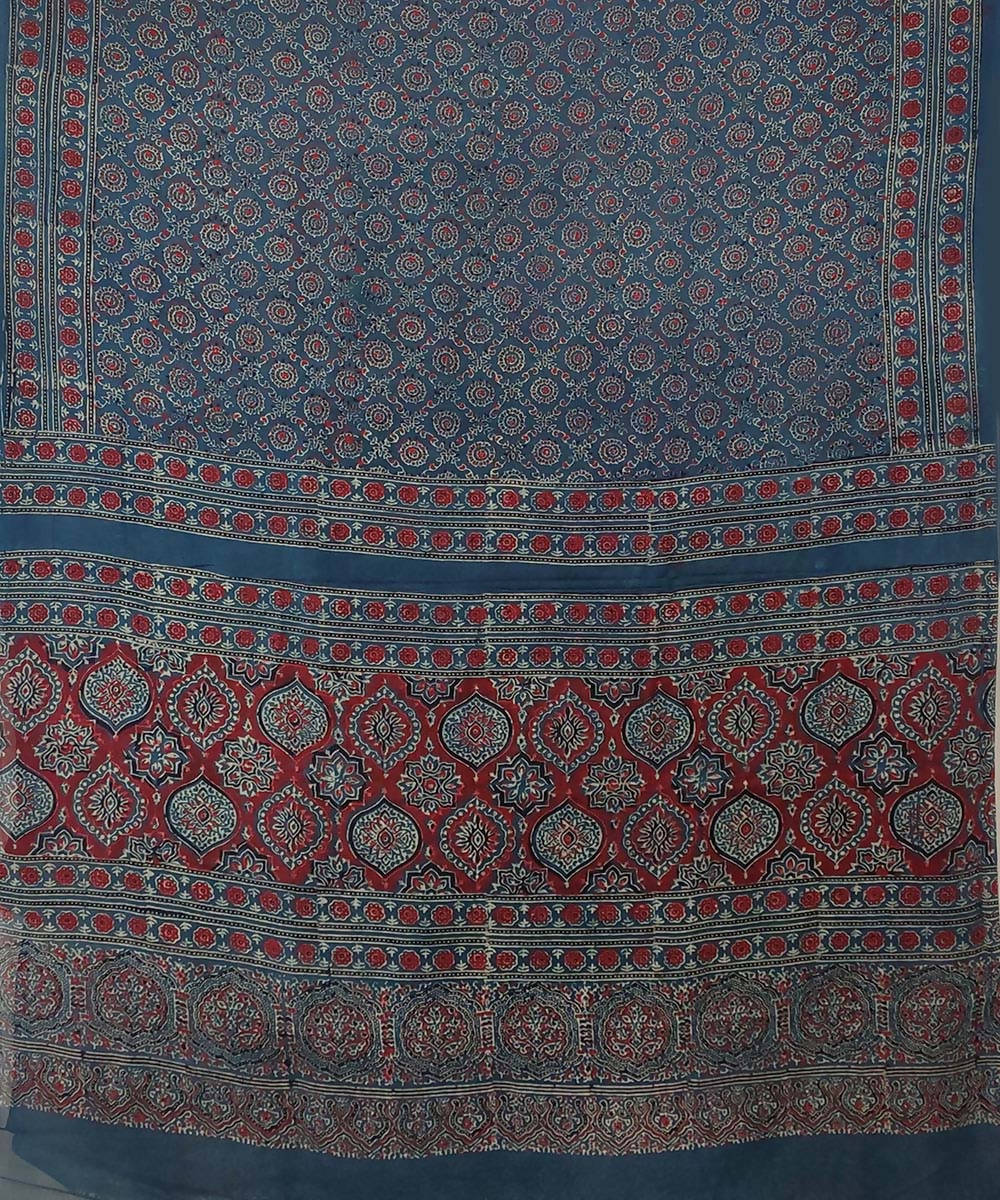 Red Ajrakh Handblock on cobalt blue Handloom Cotton Saree