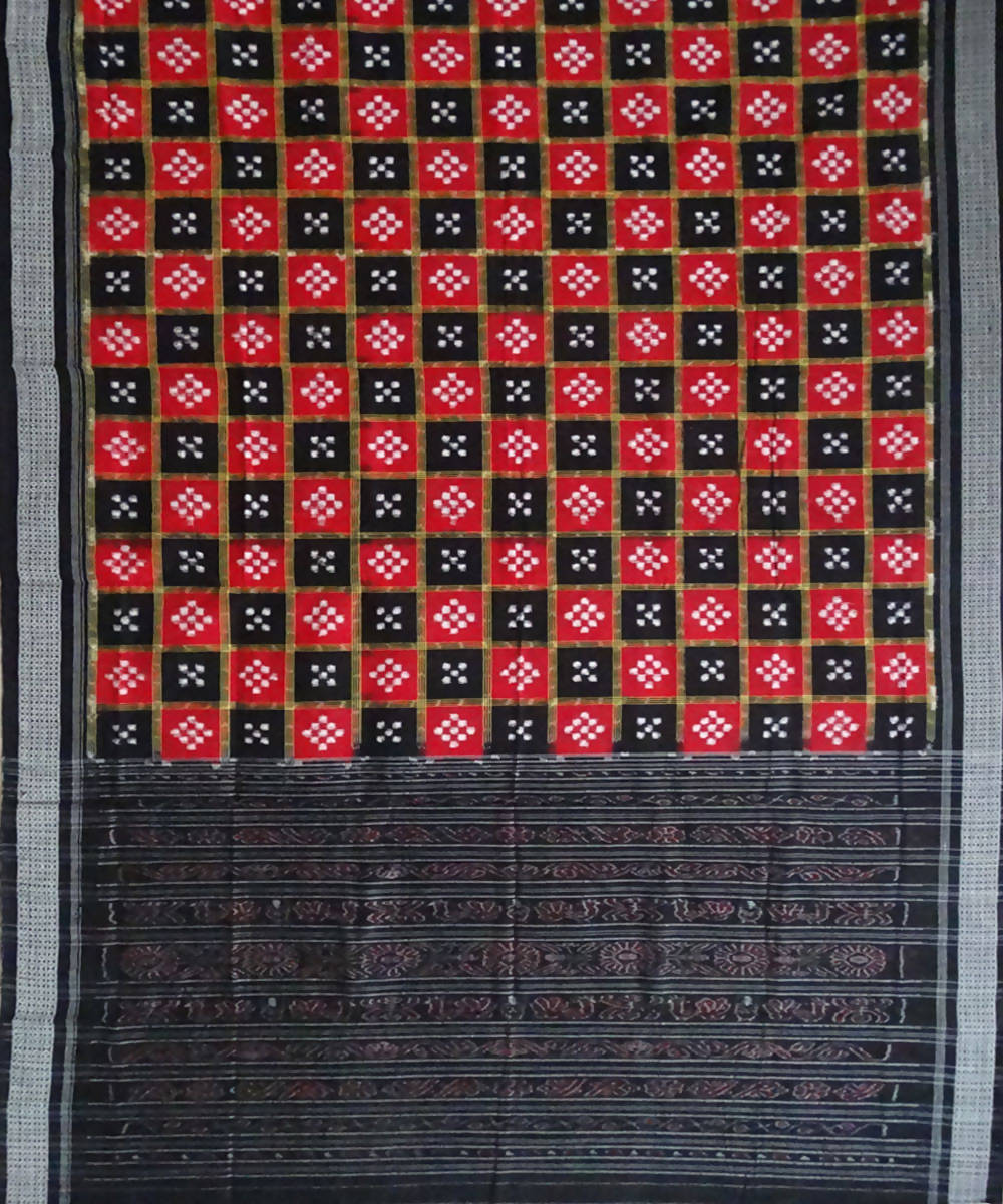Sambalpuri Red Black handwoven Cotton Saree