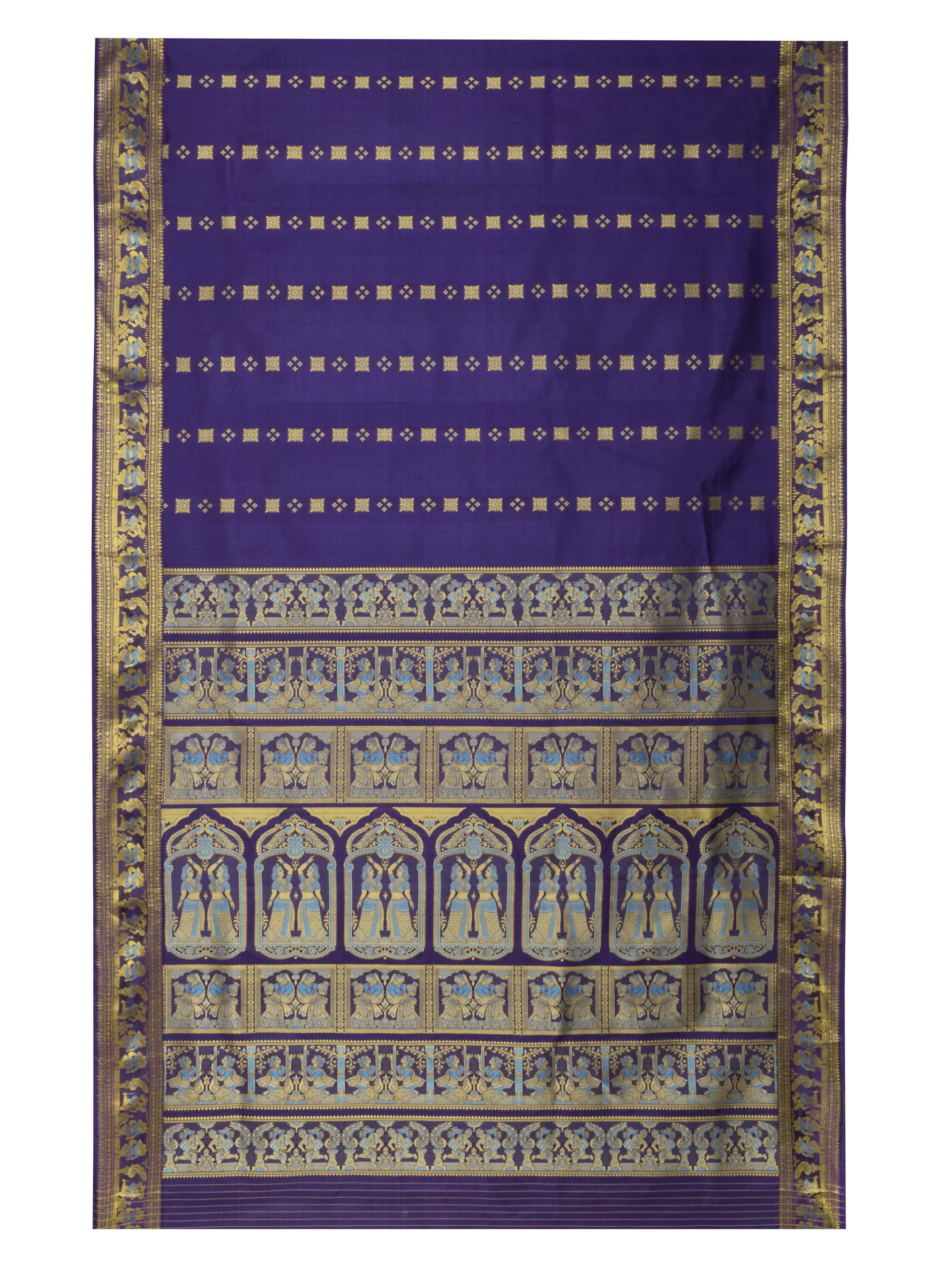 Biswa Bangla Handloom Baluchari Purple Silk Saree With Meena Work