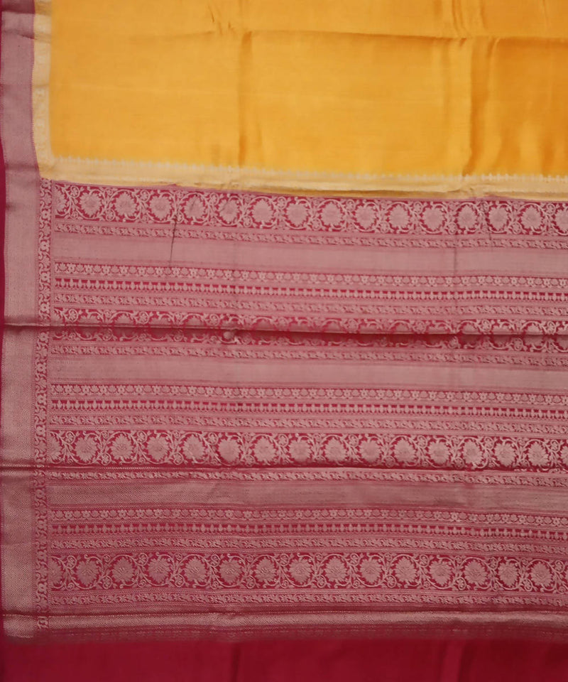 Fire Yellow and Red Banarasi Handwoven Silk Saree