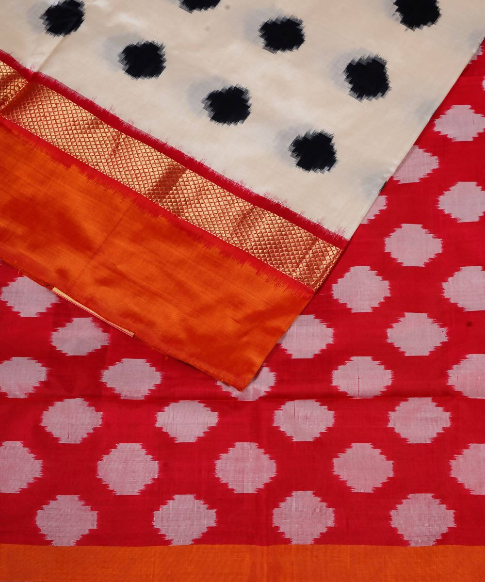 Handloom White and Orange Ikkat Silk Saree