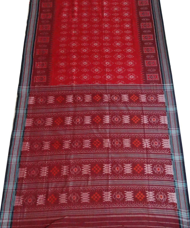 Nuapatna Red Handwoven cotton Saree