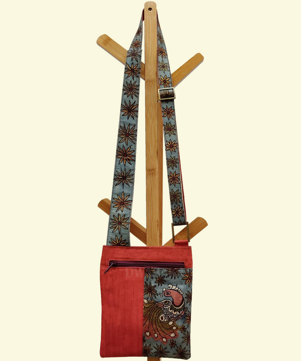 Orange with hand painted kalamkari sling bag