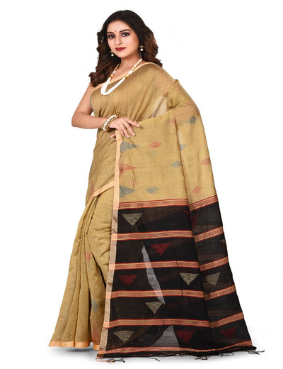 Beige Bengal Jamdani Handloom cotton silk saree