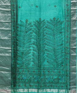 Madhubani Sea Green Hand Painted Silk Saree