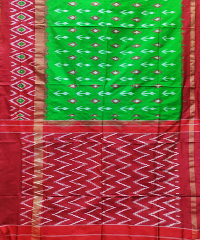 Green with red and red handloom ikat silk pochampally saree