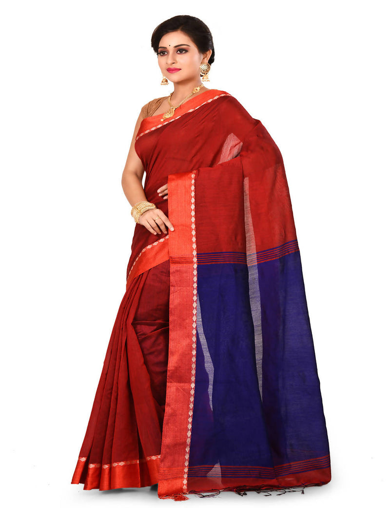Bengal Red Handwoven cotton silk saree