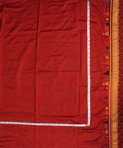 Red Hand Embroidery Cotton Khana Blouse Piece