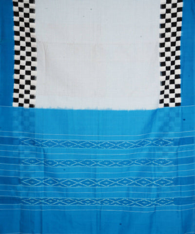 White Sky Blue Handloom Ikkat Cotton Saree