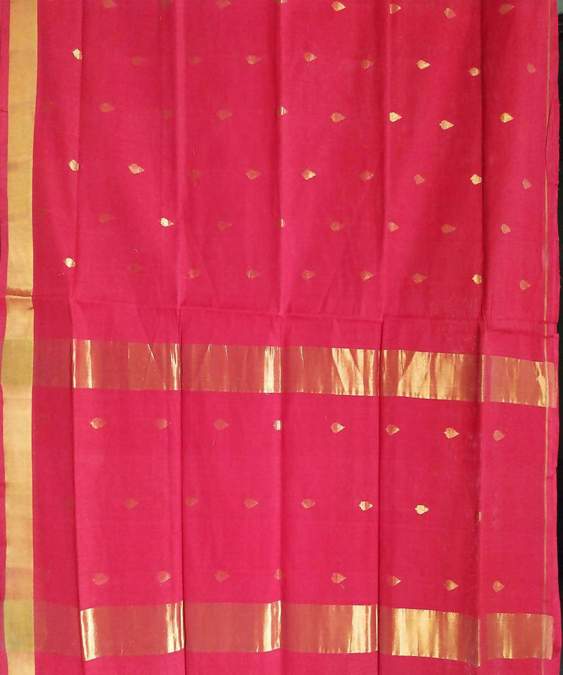 Venkatagiri Dark Pink Handloom Cotton Saree