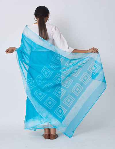 Blue Batik Block Print Kota Cotton Saree