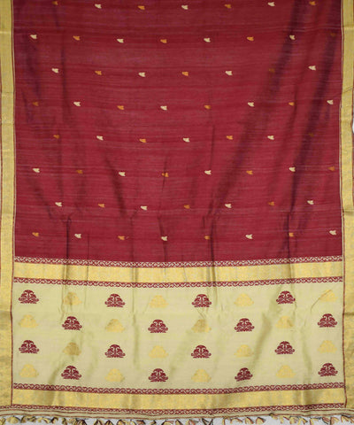 Maroon and Beige Handloom Assam Cotton Saree