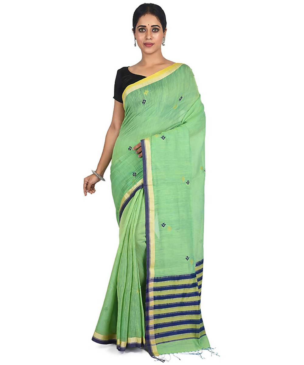 Green handwoven bengal cotton silk saree