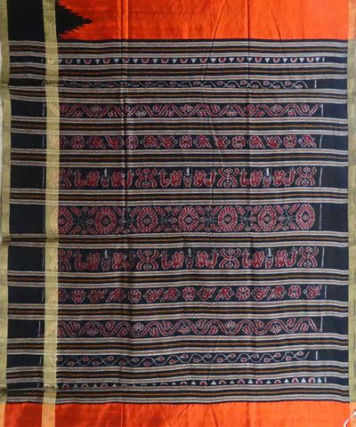Deep Orange Dupion Silk Handloom Saree