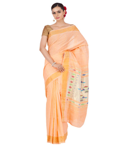 Light Orange Handloom Paithani Cotton Saree