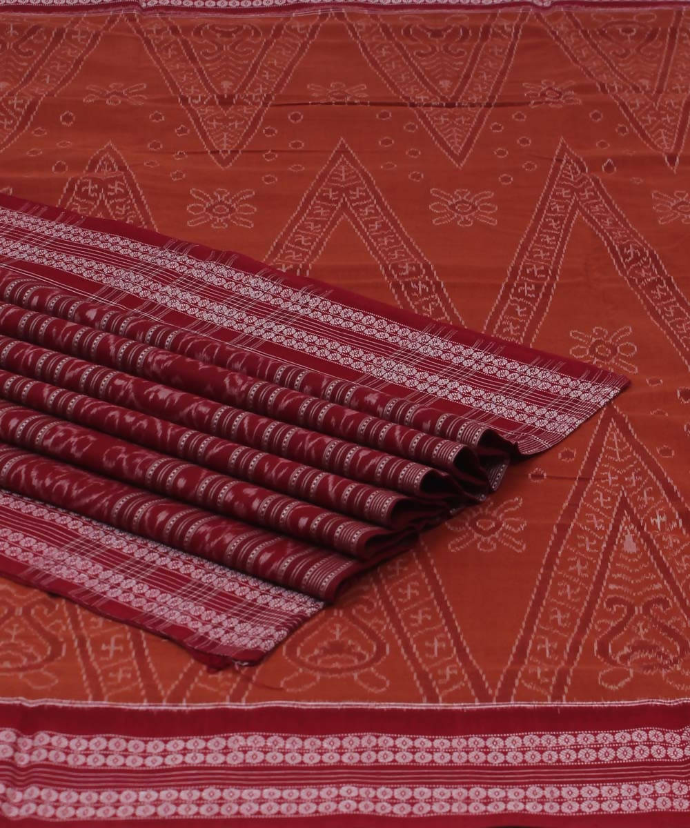 Sambalpuri Peru Maroon Handwoven Cotton Saree